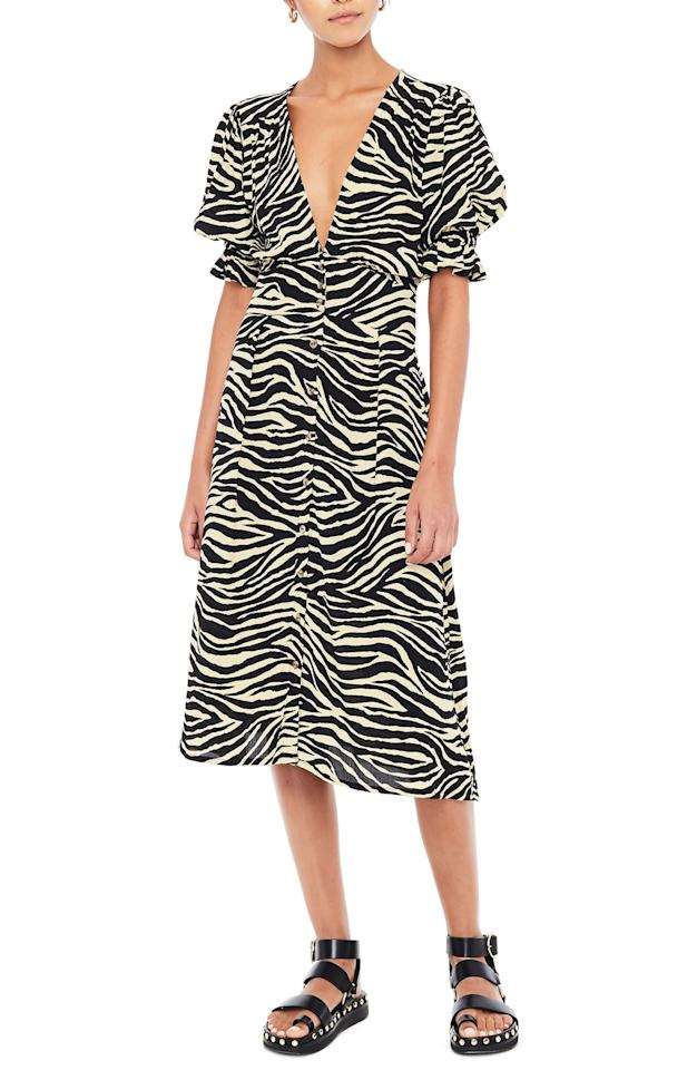 "Move over, [leopard print]—new season, new animal print to obsess over. Zebra's a big contender for fall 2019, since it was featured on the runways of Maryam Nassir Zadeh and Ulla Johnson. Test out the pattern for yourself with this on-sale dress, which is great for layering over a turtleneck or under a <a href=""https://www.glamour.com/gallery/oversized-sweaters-under-100-dollars?mbid=synd_yahoo_rss"">oversized sweater</a>. $199, Nordstrom. <a href=""https://shop.nordstrom.com/s/faithfull-the-brand-rafa-zebra-print-midi-dress/5265945?origin=category-personalizedsort&breadcrumb=Home%2FSale%2FWomen%2FClothing&color=amaia%20zebra%20print"">Get it now!</a>"