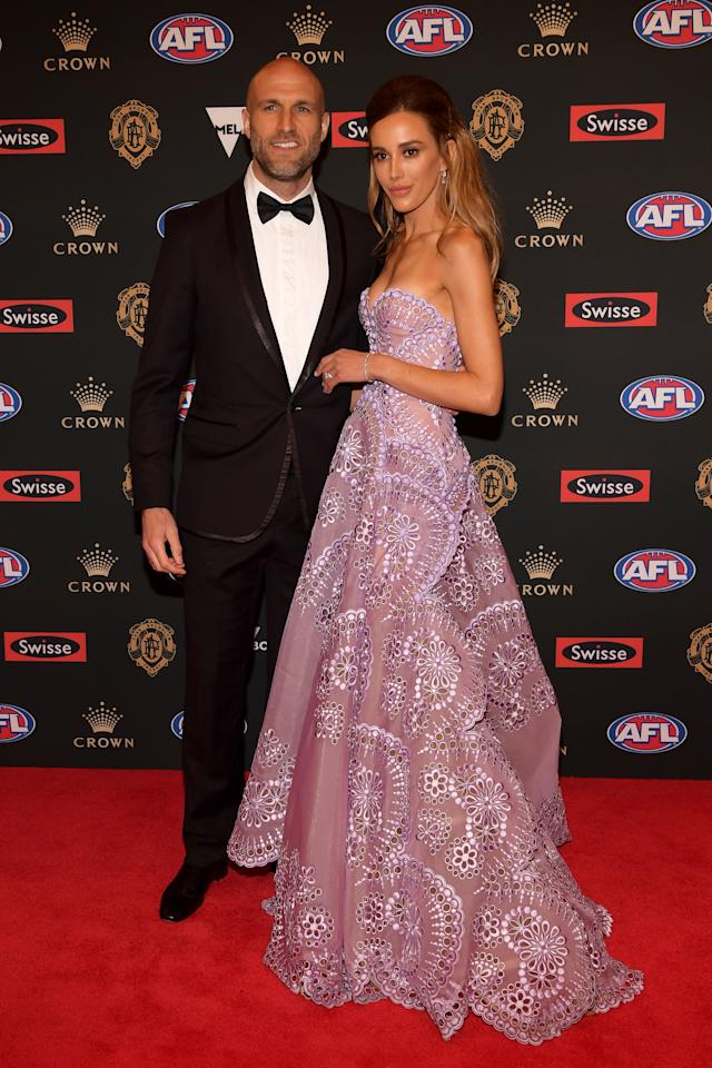 <p>Chris Judd's wife Bec was dressed to impress in a J'Aton gown.<br />Photo: Getty </p>