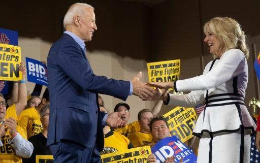 Joe Biden and his wife, Jill, at his first campaign event for the 2020 White House race