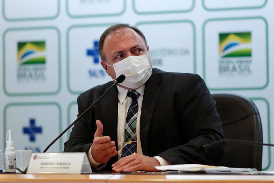 Brazil's Health Minister Eduardo Pazuello gestures during a news conference in Brasilia, Brazil, March 15, 2021. REUTERS/Ueslei Marcelino