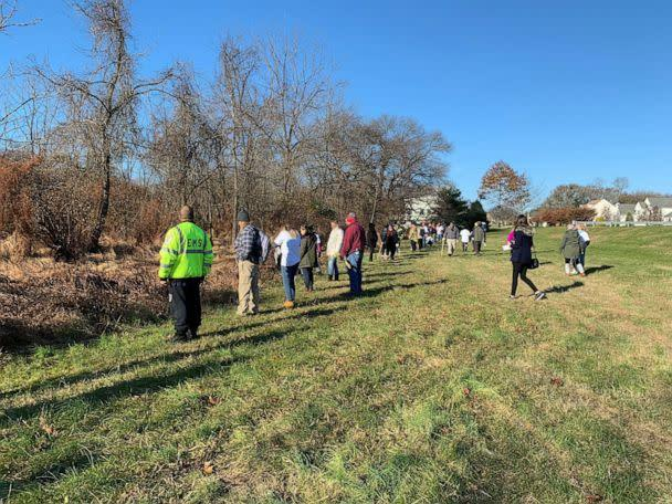 PHOTO: Volunteers gather, Nov. 21, 2019, to search for Stephanie Parze in a wooded area near her Freehold Township house. (Keith Schubert, Asbury Park Press/USA Today Network)