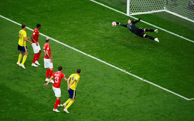 <p>Switzerland's Yann Sommer makes a save from Sweden's Marcus Berg REUTERS/Jason Cairnduff </p>
