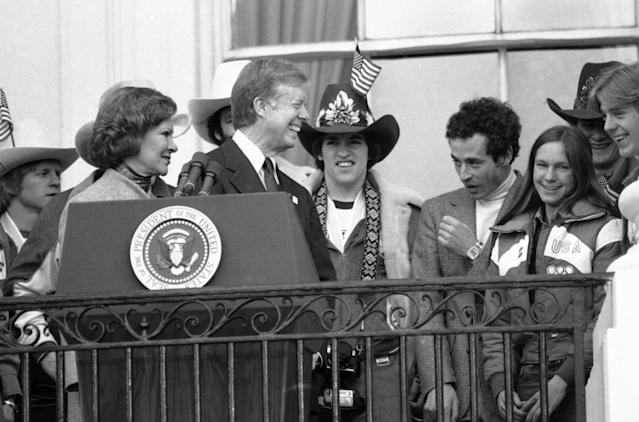 <p>Team USA star and honorary cowboy, Mark Johnson, was front and center with the rest of his teammates and coaches as they celebrated their victory on the White House balcony with President Carter. </p>