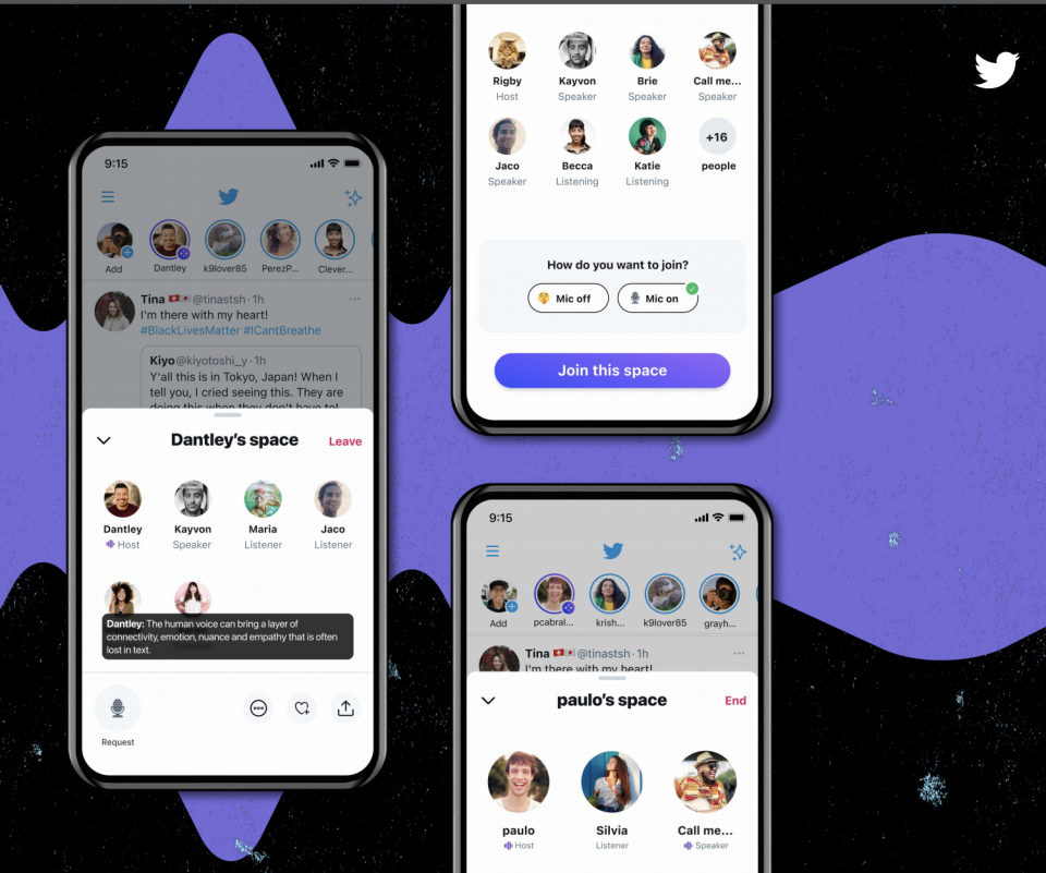 Twitter's Spaces feature for audio chats.