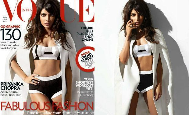 <p>Dressed to kill on the cover of Vogue's March 2013 edition, PeeCee flaunted a bikini top by Shivan & Narresh, shorts from Prada and a cape by Burberry Prorsum. However, we most of all lover her bee-stung lips and the Brigitte Bardot style bouffant.</p>