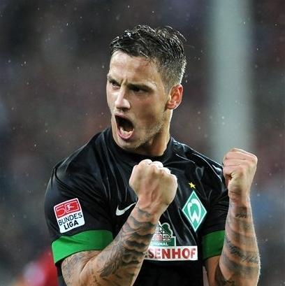 Bremen's Marko Arnautovic reacts after the German first division Bundesliga soccer match between SC Freiburg and Werder Bremen in Freiburg, southern Germany, Wednesday, Sept. 26, 2012. Bremen won 2-1. (AP Photo/dapd,Michael Kienzler)