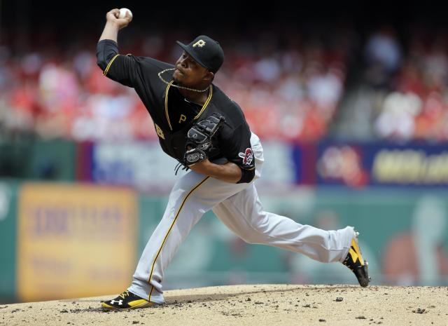Pittsburgh Pirates starting pitcher Edinson Volquez throws during the first inning of a baseball game against the St. Louis Cardinals Wednesday, Sept. 3, 2014, in St. Louis. (AP Photo/Jeff Roberson)