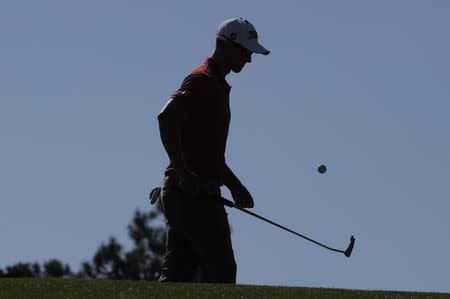 Adam Scott of Australia practices for the 2017 Masters at Augusta National Golf Club in Augusta
