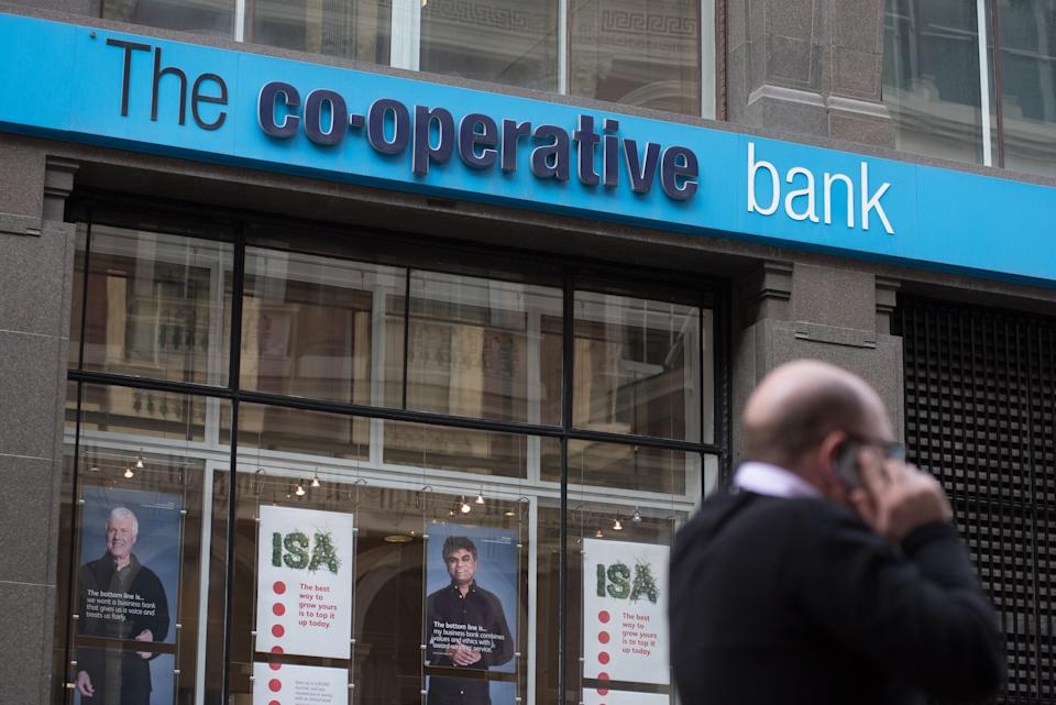 LONDON, ENGLAND - APRIL 05: A general view of a branch of the Co-operative bank at Cornhill on April 5, 2019 in London, England. (Photo by John Keeble/Getty Images)