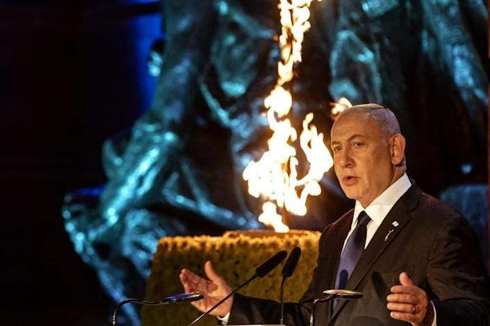 Israeli Prime Minister Benjamin Netanyahu delivers a speech on Holocaust Martyrs and Heroes Remembrance Day