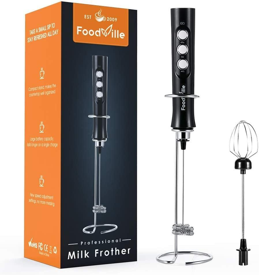<p>The <span>FoodVille MF02 Handheld Rechargeable Milk Frother</span> ($18) let's her create the perfect latte without taking up room on her counter and without the hassle of replacing batteries.</p>