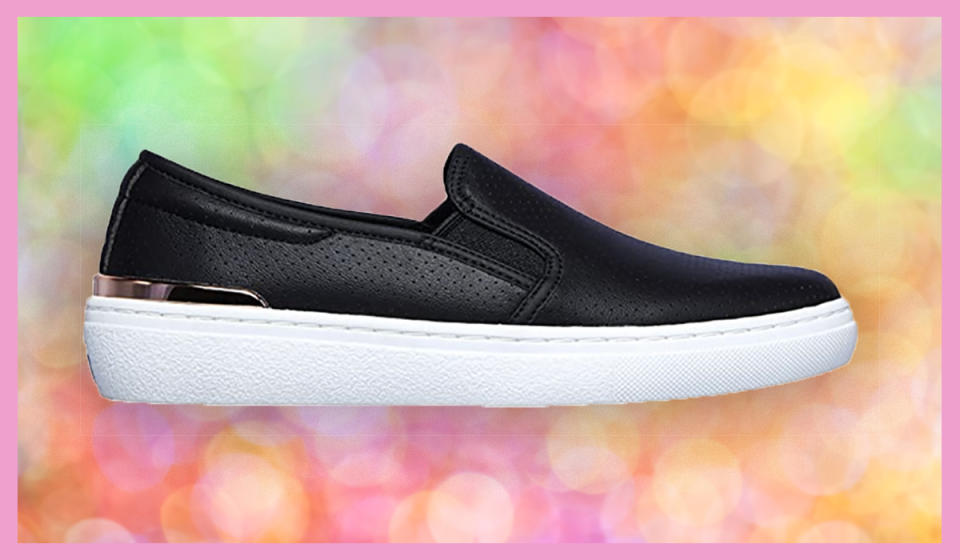 Note the metallic detailing in back. Chic meets comfort at an absurd sale price. (Photo: Amazon)