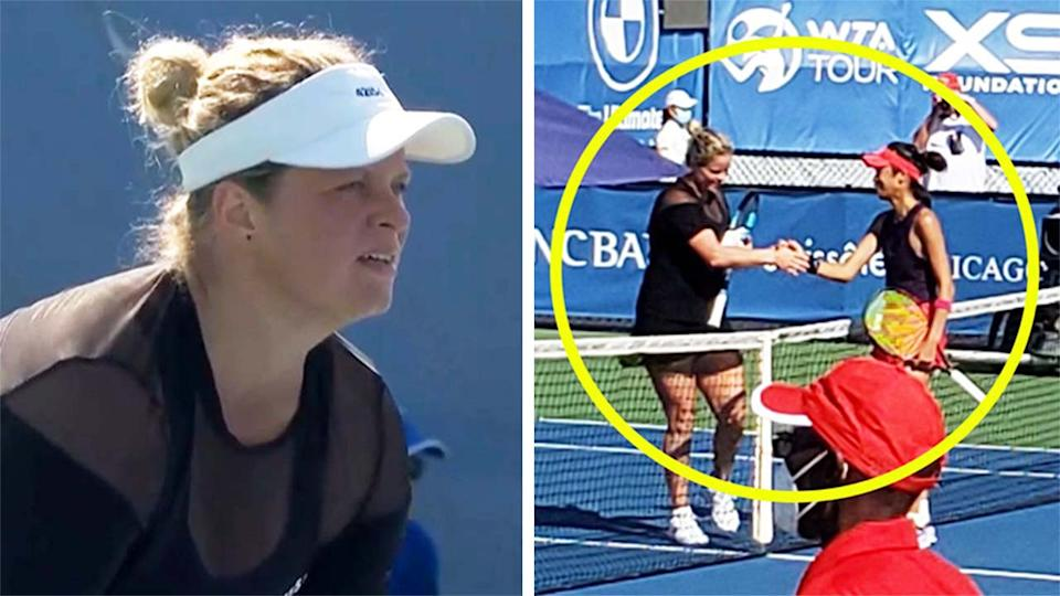 Kim Clijsters (pictured left) waiting for a serve and (pictured right) shaking hands with Hsieh Su-wei at the net.