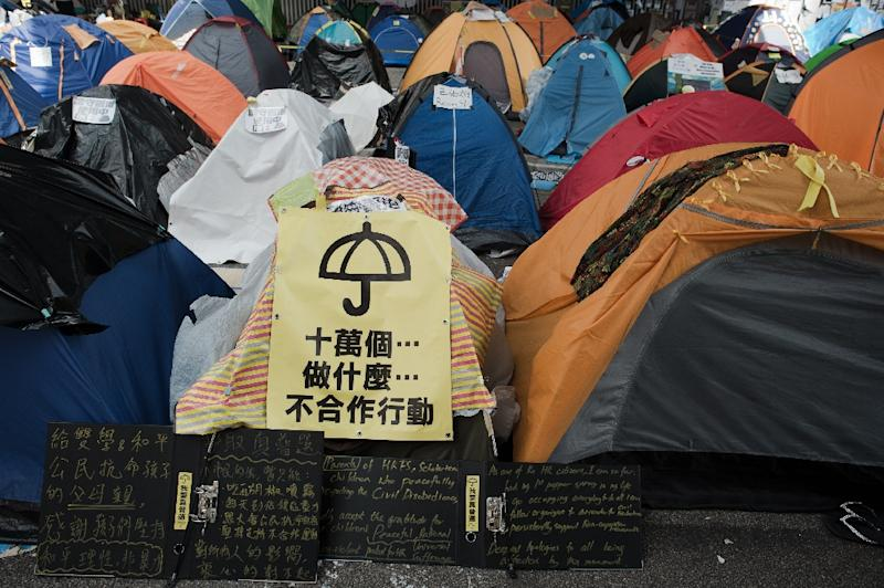 Tents pitched during pro-democracy rallies that brought parts of Hong Kong to a standstill for more than two months last year (AFP Photo/Nicolas Asfouri)