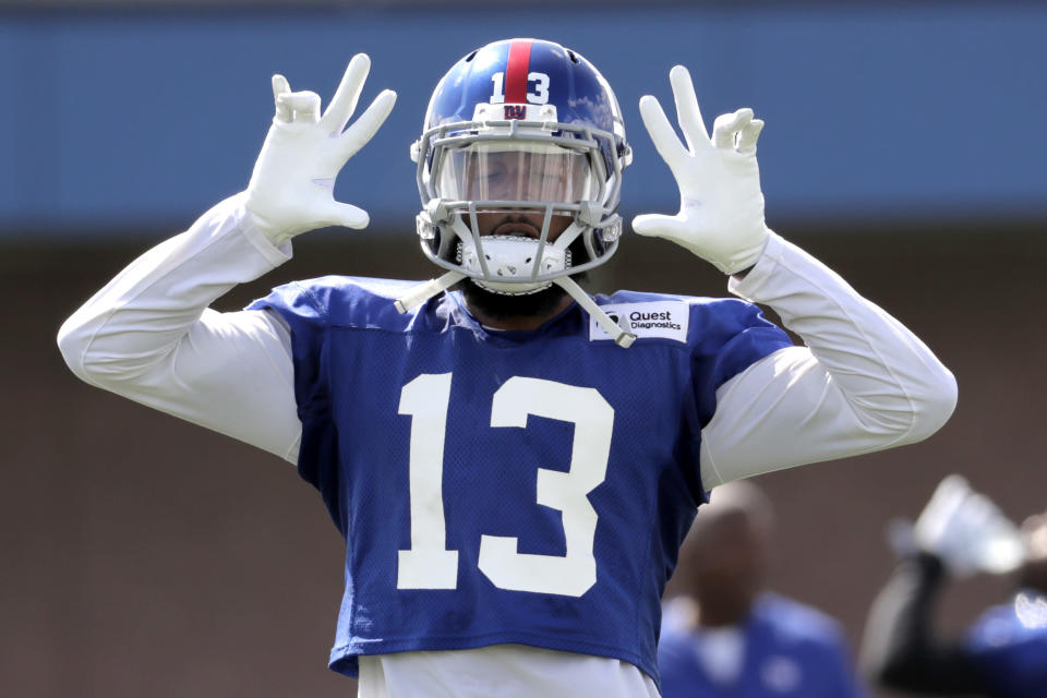 New York Giants wide receiver Odell Beckham can become a free agent after this season. (AP)