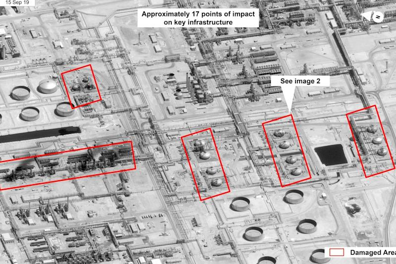 The red areas mark where the drone stikes damaged the petroleum processing facility in Abqaiq. (AP)