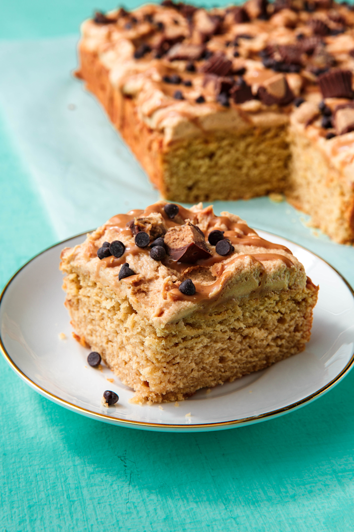 """<p>Peanut butter everythingggg. </p><p>Get the recipe from <a href=""""https://www.delish.com/cooking/recipe-ideas/a22845255/peanut-butter-cake-recipe/"""" rel=""""nofollow noopener"""" target=""""_blank"""" data-ylk=""""slk:Delish"""" class=""""link rapid-noclick-resp"""">Delish</a>. </p>"""