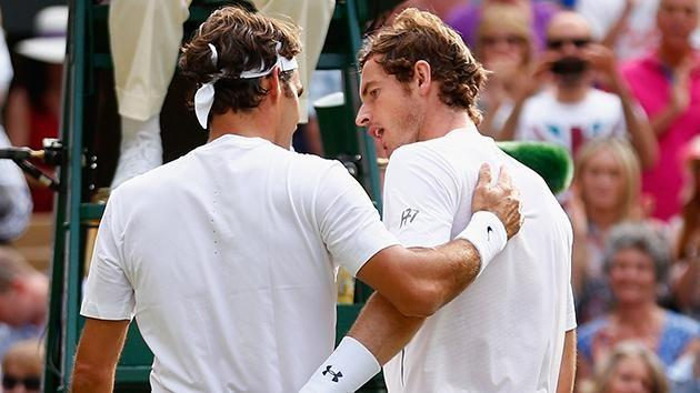 Federer and Murray talk after their Wimbledon meeting in 2015. Pic: Getty