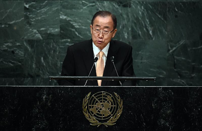 United Nations Secretary General Ban Ki-moon addresses the 71st session of United Nations General Assembly in New York, on September 20, 2016 (AFP Photo/Jewel Samad)