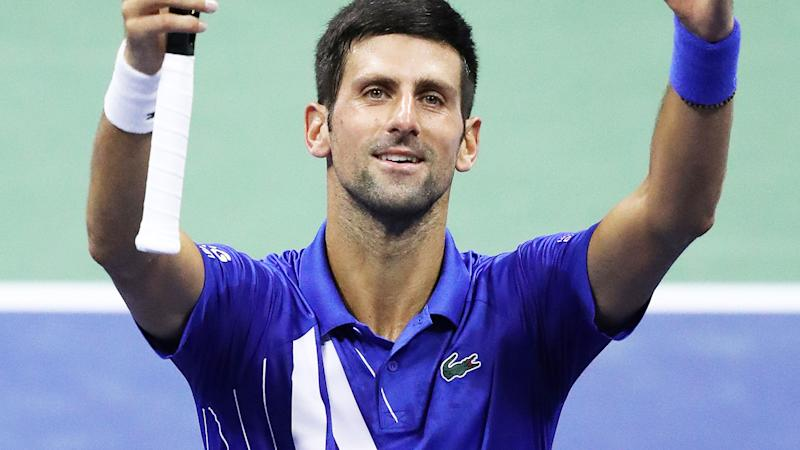 Novak Djokovic, pictured here after his third-round win at the US Open.
