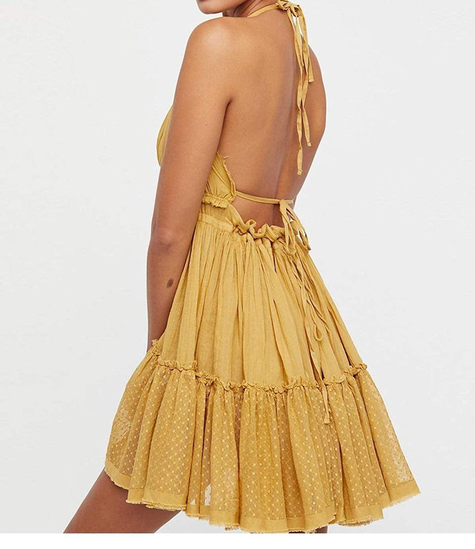 <p>Pair this <span>R.Vivimos Summer Halter Mini Dress</span> ($22 and up) with a cute pair of strappy sandals. </p>