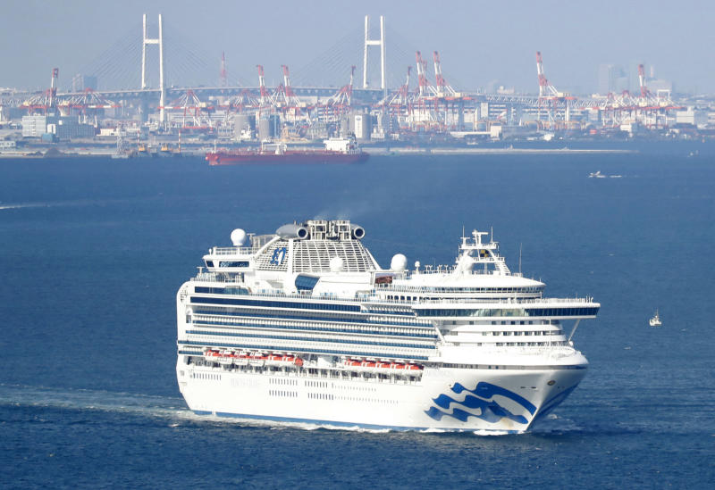 Luxury cruise ship Diamond Princess at the Yokohama port, near Tokyo, where passengers are being quarantined. Source: AAP
