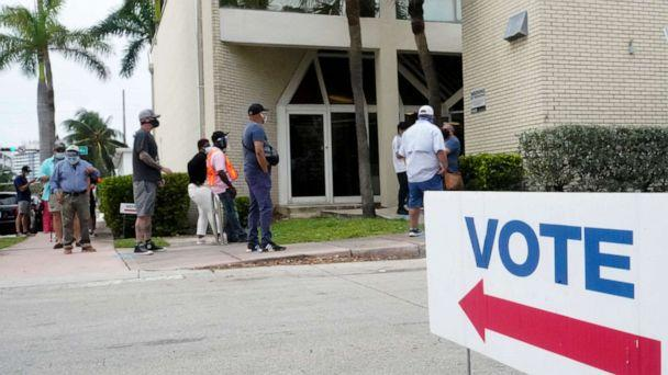 PHOTO: People wait in line to vote outside of an early voting site, Oct. 20, 2020, in Miami Beach, Fla. (Wilfredo Lee/AP)