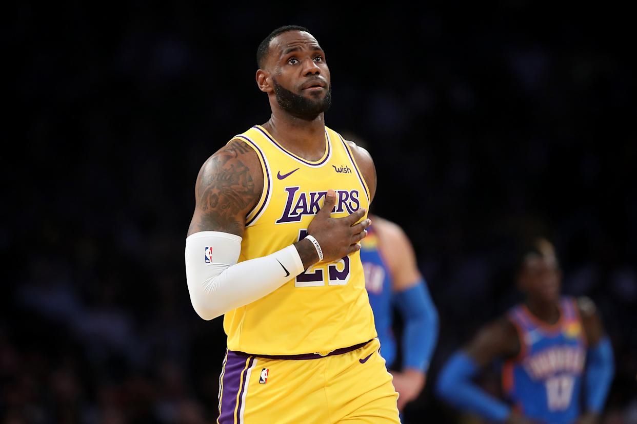 LeBron James' triple-double against the Thunder marked a milestone. (Sean M. Haffey/Getty Images)