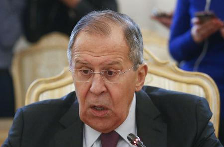 Russia's Foreign Minister Sergei Lavrov attends a meeting with his North Korean counterpart Ri Yong Ho in Moscow