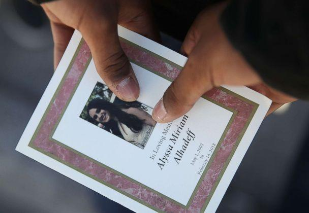PHOTO: A program is seen from the funeral of Alyssa Alhadeff at the Garden of Aaron at Star of David Memorial Gardens, Feb. 16, 2018, in Parkland, Fla. (Joe Raedle/Getty Images)