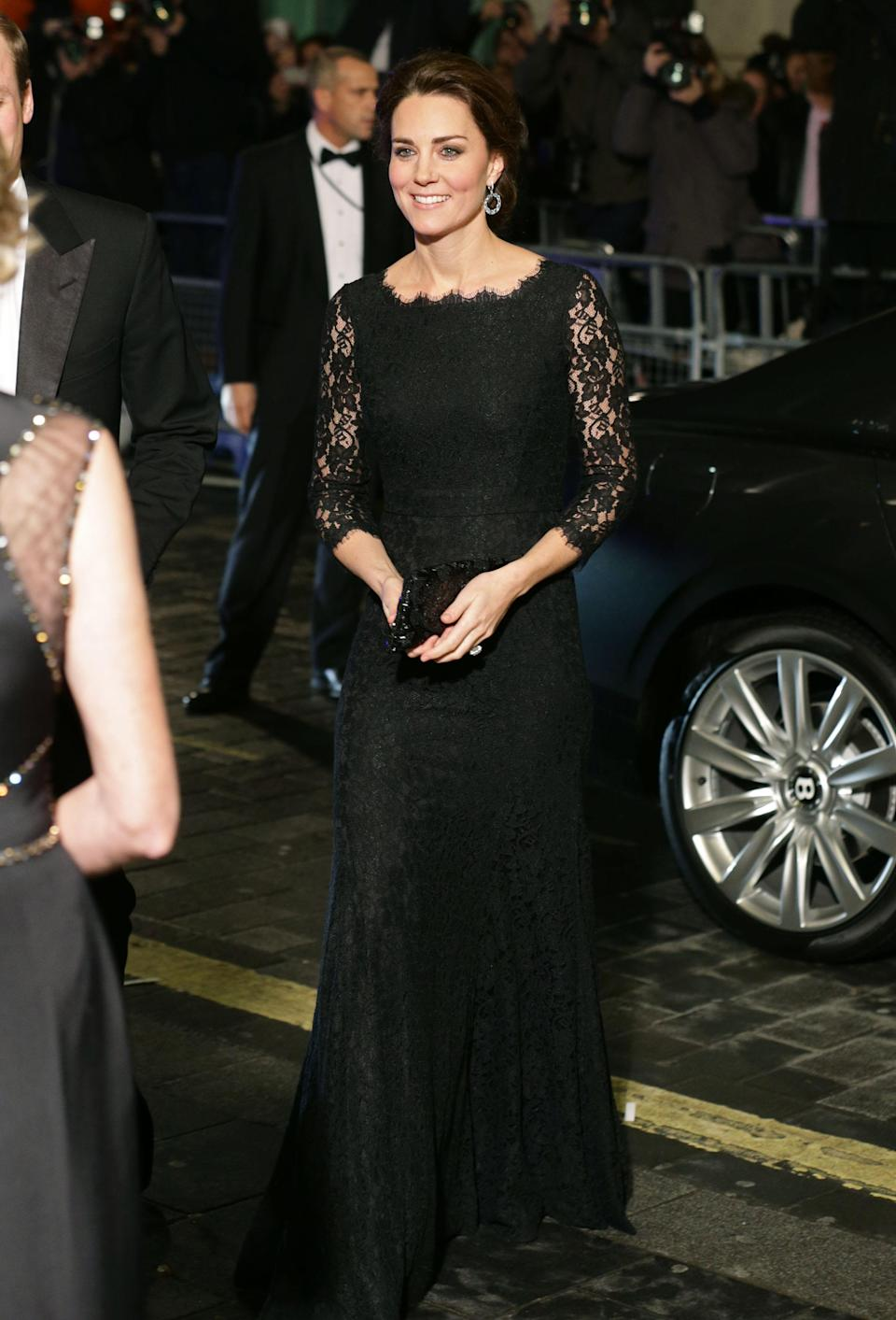 <p>Pregnant with Princess Charlotte, the Duchess of Cambridge attended the 2014 Royal Variety Performance in a lace gown by Diane Von Furstenberg. <em>[Photo: Getty]</em> </p>