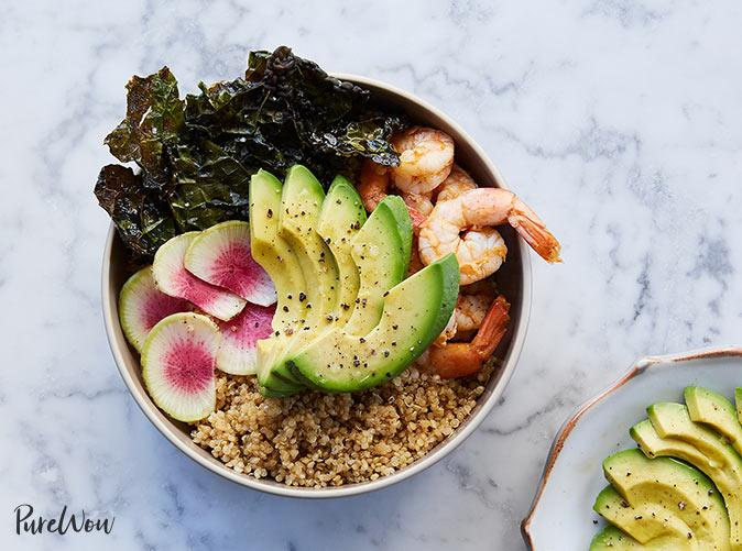 "<p><em>Psst: </em>Frozen kale is a thing. And it saves you from all of that de-stemming.</p> <p><a class=""cta-button-link"" href=""https://www.purewow.com/recipes/the-ultimate-quinoa-avocado-bowl"" target=""_blank"">Get the recipe</a></p>"