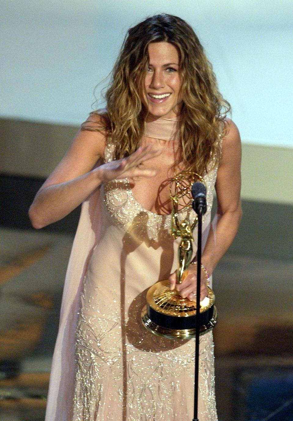 <p>Jen earned her first—and so far only—Emmy for Best Actress in a Comedy Series. The award was obviously for her performance as Rachel in <em>Friends</em>.<br></p>