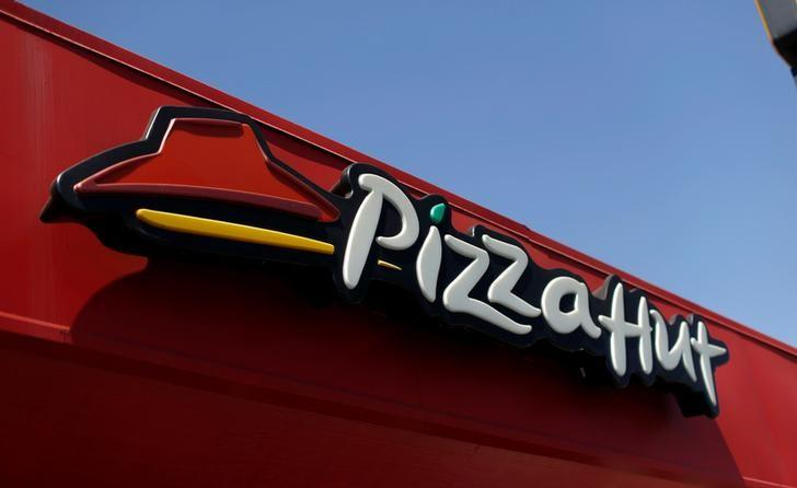 FILE PHOTO: The sign at a Pizza Hut location is pictured in Pasadena