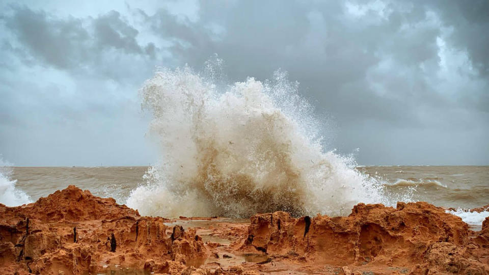 Dramatic waves rages when Tropical Cyclone Veronica hit the WA coast. Source: Paige Simmons