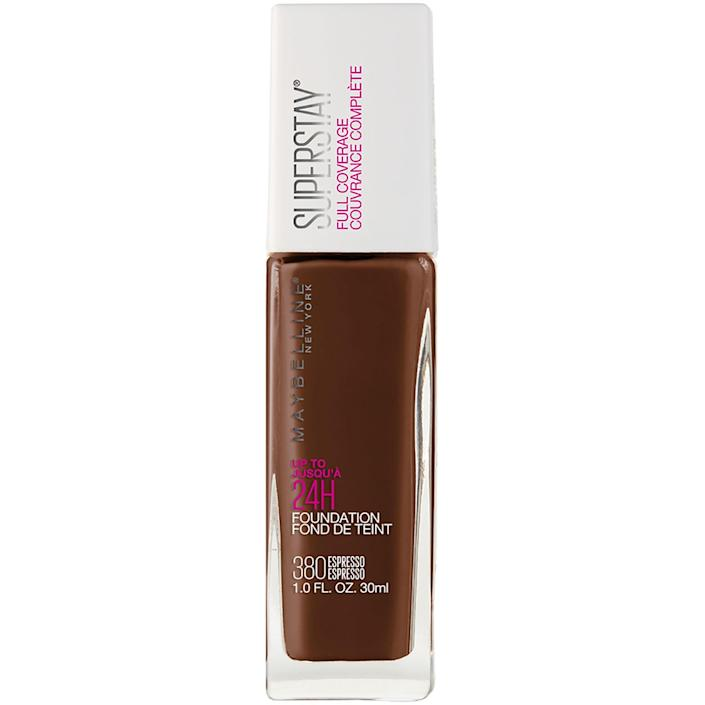 """Easily one of the best drugstore foundations, the Maybelline New York Super Stay Foundation is a great matte option with long-lasting coverage. Seriously, this stuff will last through even the sweatiest party — not that you'll be going to one anytime soon. It's definitely full coverage, so a little will go a long way. $12, Ulta Beauty. <a href=""""https://shop-links.co/1686295026241469753"""" rel=""""nofollow noopener"""" target=""""_blank"""" data-ylk=""""slk:Get it now!"""" class=""""link rapid-noclick-resp"""">Get it now!</a>"""