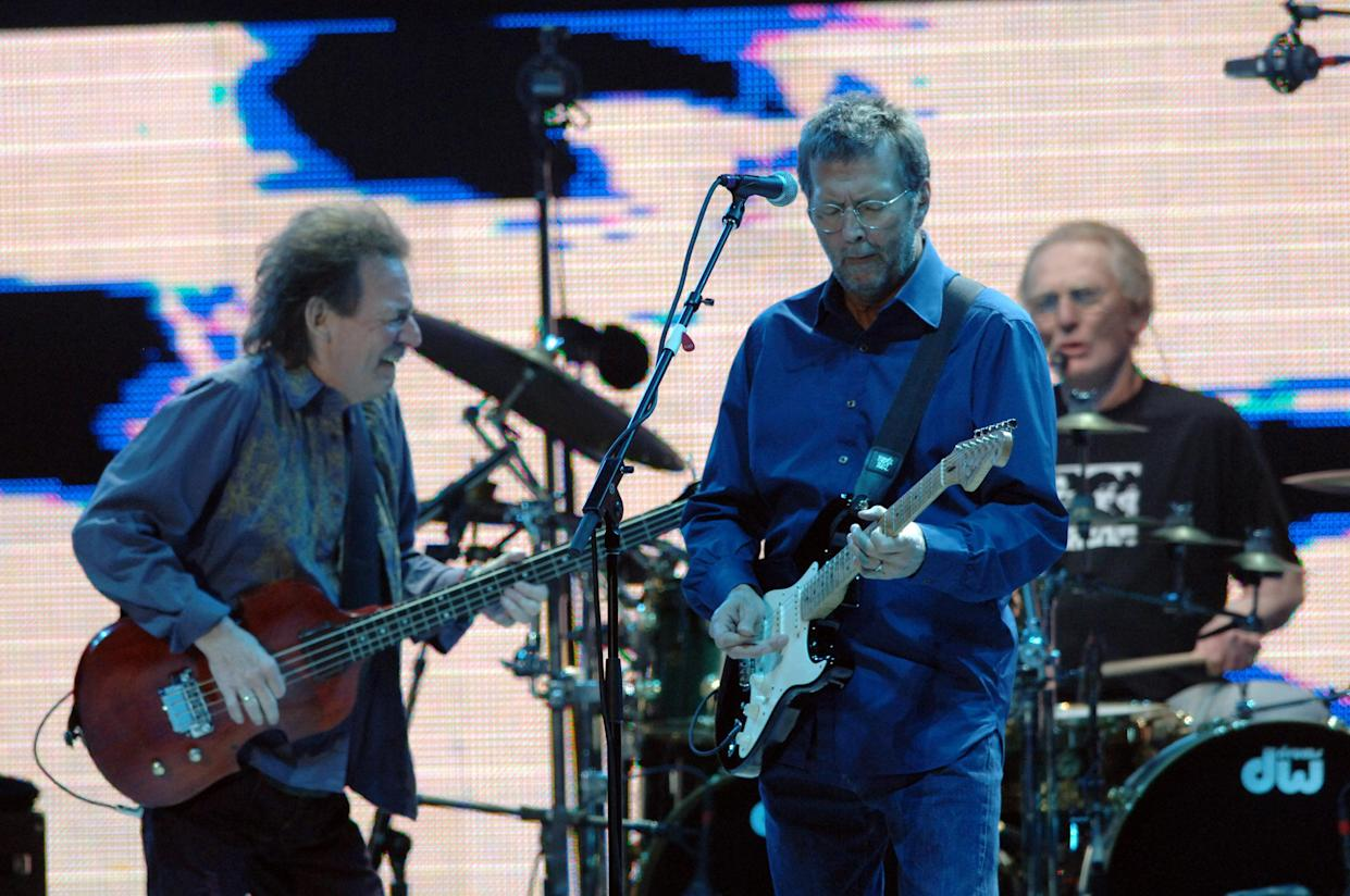 Jack Bruce, Eric Clapton and Ginger Baker of Cream (Photo by KMazur/WireImage)