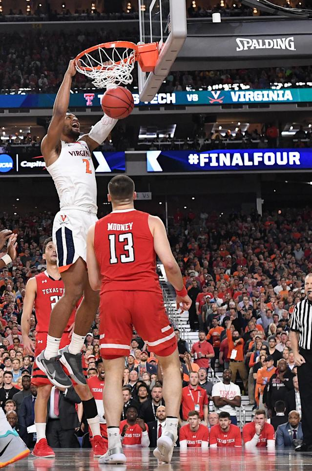 Braxton Key #2 of the Virginia Cavaliers dunks against the Texas Tech Red Raiders during the first half in the 2019 NCAA men's Final Four National Championship game at U.S. Bank Stadium on April 08, 2019 in Minneapolis, Minnesota. (Photo by Brett Wilhelm/NCAA Photos via Getty Images)