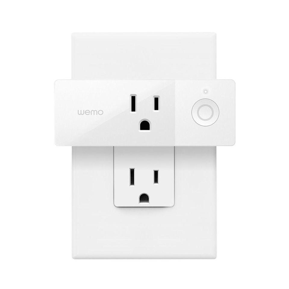 """<p><strong>WeMo</strong></p><p>amazon.com</p><p><strong>$19.97</strong></p><p><a href=""""https://www.amazon.com/dp/B01NBI0A6R?tag=syn-yahoo-20&ascsubtag=%5Bartid%7C2089.g.864%5Bsrc%7Cyahoo-us"""" rel=""""nofollow noopener"""" target=""""_blank"""" data-ylk=""""slk:Shop Now"""" class=""""link rapid-noclick-resp"""">Shop Now</a></p><p>The WeMo mini smart plug can work with Amazon Alexa, the Google Assistant, Apple HomeKit, which earned it the distinction as the top pick in a guide for smart outlets by <a href=""""https://thewirecutter.com/reviews/best-smart-switch/"""" rel=""""nofollow noopener"""" target=""""_blank"""" data-ylk=""""slk:Wirecutter"""" class=""""link rapid-noclick-resp"""">Wirecutter</a>.<br></p><p>You can control the sleek Wi-Fi-connected device from anywhere, as well as set the schedules of the connected appliances. You can even randomize your lights while you're away from home to create an impression you haven't left. Genius!</p>"""