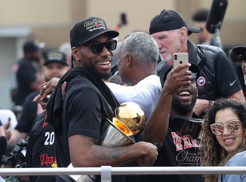 TORONTO, ON- JUNE 17 - Toronto Raptors forward Kawhi Leonard (2) as the Toronto Raptors hold their victory parade after beating the Golden State Warriors in the NBA Finals in Toronto. June 17, 2019. (Steve Russell/Toronto Star via Getty Images)