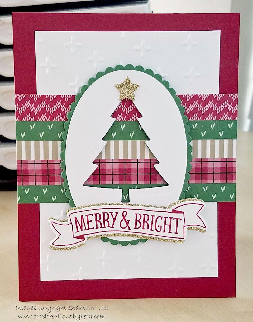 """<p>The creative blogger behind this card used washi tape to create a festive design.</p><p><strong>Get the tutorial at <a href=""""http://www.cardcreationsbybeth.com/2016/09/washi-tape-christmas-tree.html"""" rel=""""nofollow noopener"""" target=""""_blank"""" data-ylk=""""slk:Card Creations By Beth"""" class=""""link rapid-noclick-resp"""">Card Creations By Beth</a>.</strong></p><p><a class=""""link rapid-noclick-resp"""" href=""""https://www.amazon.com/Darice-GX-2200-18-20-Piece-Stock-12-Inch/dp/B0086XIDH0/?tag=syn-yahoo-20&ascsubtag=%5Bartid%7C10050.g.3872%5Bsrc%7Cyahoo-us"""" rel=""""nofollow noopener"""" target=""""_blank"""" data-ylk=""""slk:SHOP WHITE CARDSTOCK PAPER"""">SHOP WHITE CARDSTOCK PAPER</a></p>"""