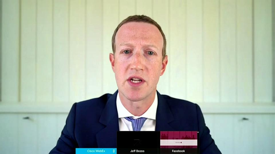 "Facebook CEO Mark Zuckerberg testifies remotely via videoconference during a U.S. House Judiciary Subcommittee on Antitrust, Commercial and Administrative Law hearing on ""Online Platforms and Market Power"" in this screengrab made from video as the committee meets on Capitol Hill, in Washington, U.S., July 29, 2020.  U.S. House Judiciary Committee via REUTERS"