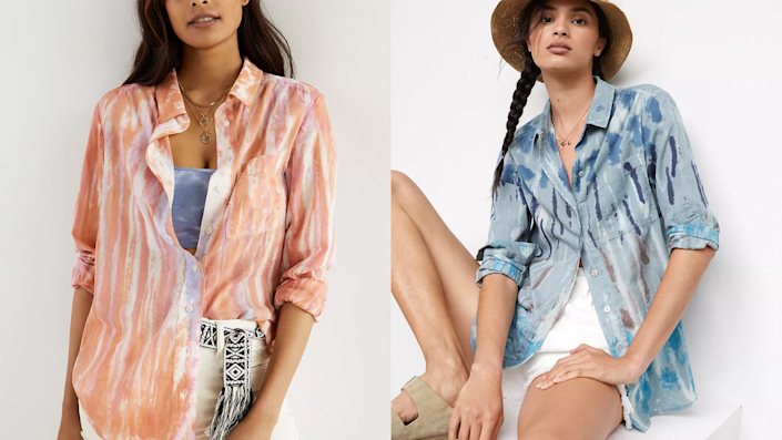 This tie-dye top is just $35 at Anthropologie right now.