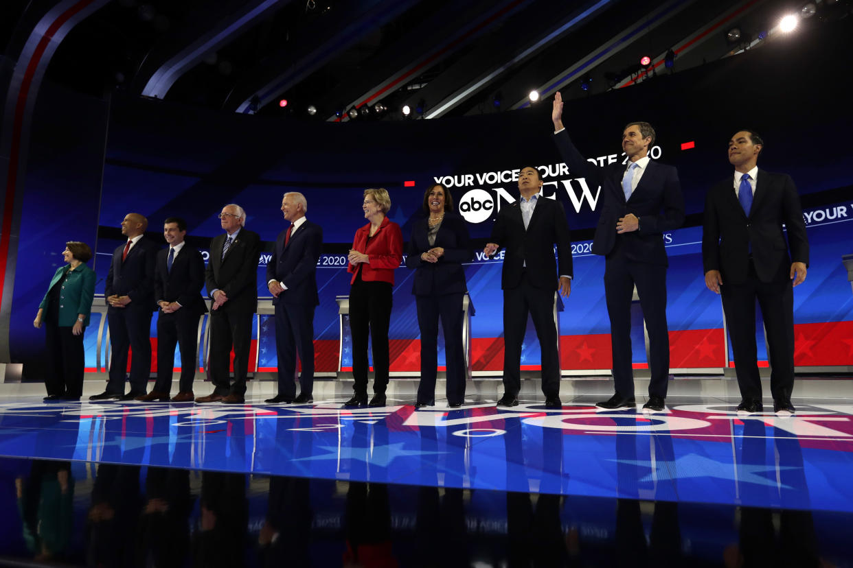 From left, Democratic presidential candidates Sen. Amy Klobuchar, D-Minn., Sen. Cory Booker, D-N.J., South Bend Mayor Pete Buttigieg, Sen. Bernie Sanders, I-Vt., former Vice President Joe Biden, Sen. Elizabeth Warren, D-Mass., Sen. Kamala Harris, D-Calif., entrepreneur Andrew Yang, former Texas Rep. Beto O'Rourke and former Housing Secretary Julian Castro are introduced for the Democratic presidential primary debate hosted by ABC on the campus of Texas Southern University, Sept. 12, 2019, in Houston. (Photo: Eric Gay/AP)