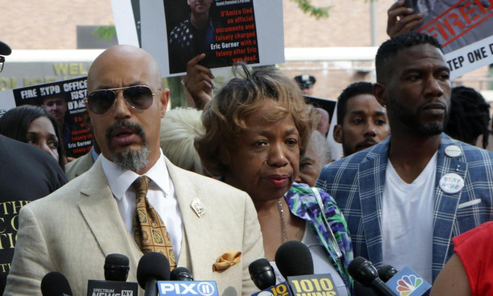 "<span class=""element-image__caption"">Eric Garner's family holds a press conference regarding the firing of NYPD officer Daniel Pantaleo, on 19 August.</span> <span class=""element-image__credit"">Photograph: MediaPunch/REX/Shutterstock</span>"
