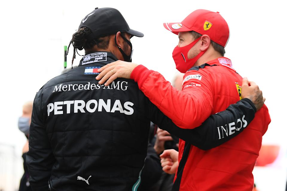 <em>Race winner and seven-time champion Lewis Hamilton is congratulated by Sebastian Vettel, who finished third at Turkey (Clive Mason/Getty Images).</em>