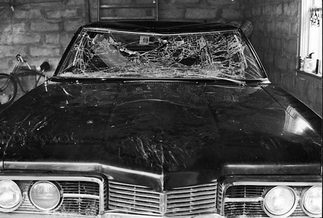 <p>Sen. Edward Kennedy's car with smashed windshield parked in a garage after his accident at Chappaquiddick Island near Edgartown, Martha's Vineyard, Mass.,1969. (Photo: Santi Visalli/Getty Images) </p>