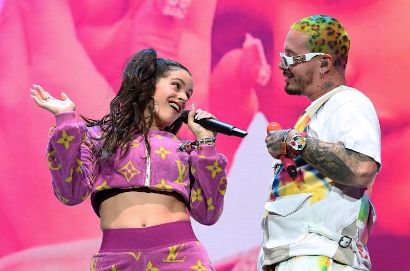 "Spanish flamenco renegade Rosalia and Colombian singer J Balvin perform their joint hit ""Con Altura"" at Coachella (AFP Photo/VALERIE MACON)"