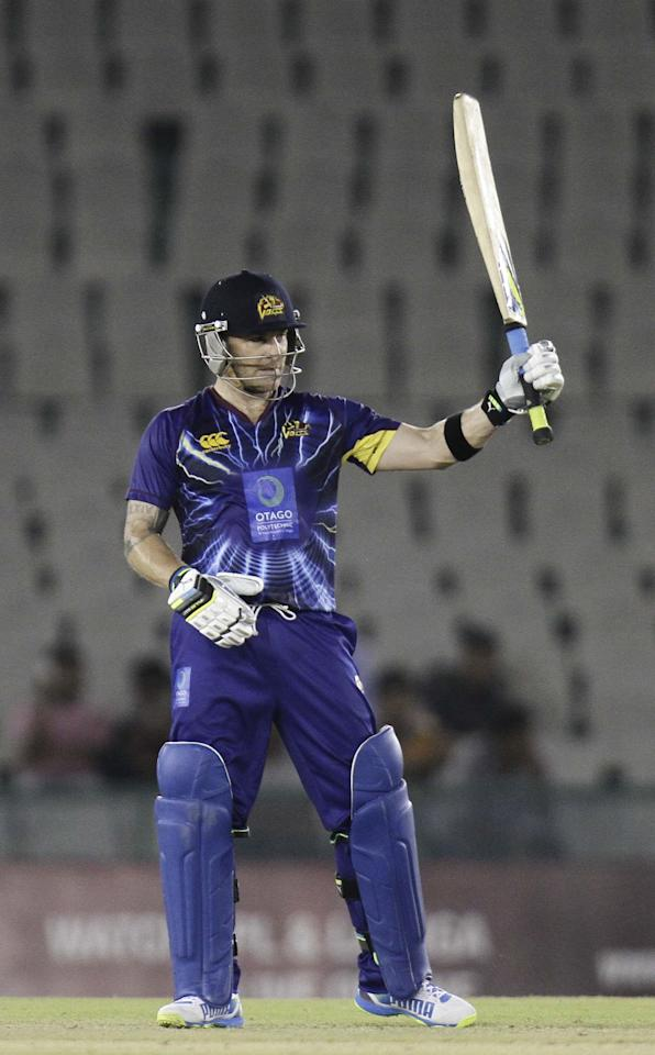 Sunrisers Hyderabad batsman Brendon McCullum in action during the Champions League Twenty20 between Sunrisers Hyderabad and Otago at Mohali stadium, Chandigarh on Sept. 20, 2013. (Photo: IANS)
