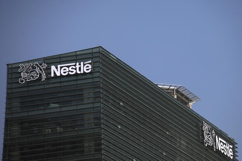 The logo of Nestle is seen on the company building in Mexico City